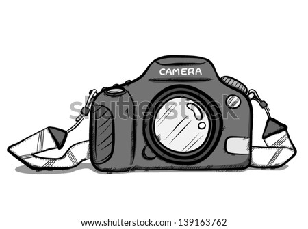 Digital Camera And Strap Cartoon Vector Illustration Isolated On White Background