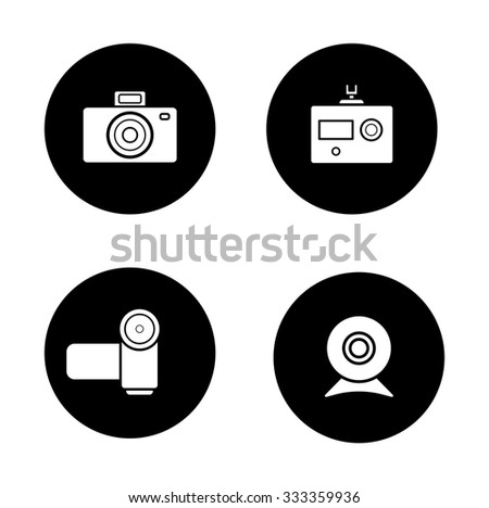 Digital cameras black icons set. Slr vintage photocamera and modern action camera circle symbols. Video and webcam white silhouettes illustrations. Optical multimedia equipment. Vector - stock vector