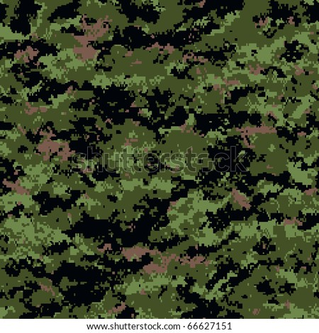 digital camouflage seamless patterns (forest palette) - stock vector