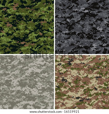digital camouflage seamless patterns (forest, urban, universal and desert colors)