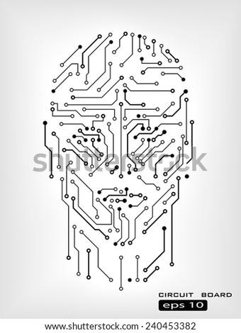 digital circuit human head silhouette vector background - stock vector