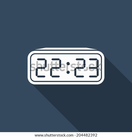 digital clock icon with long shadow - stock vector