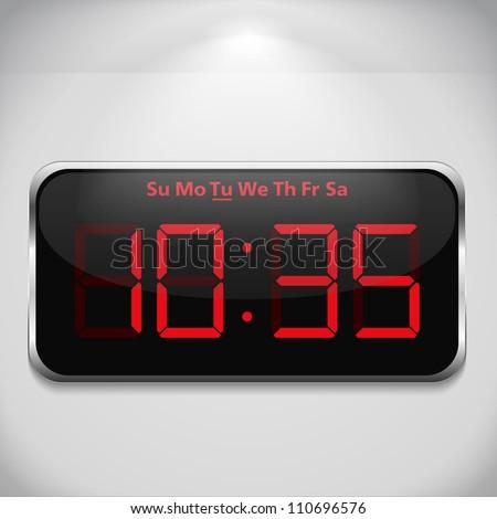 Digital clock on gray wall, vector eps10 illustration - stock vector