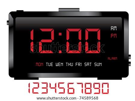 digital clock vector - stock vector