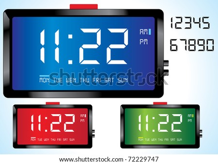 digital clock vector eps8 - stock vector