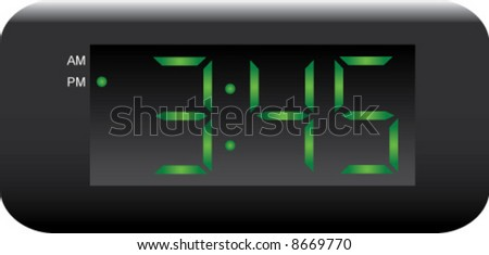 Digital Clock with changeable time - stock vector