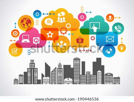 Digital Community. Concept social media city. File is saved in AI10 EPS version. This illustration contains a transparency     - stock vector