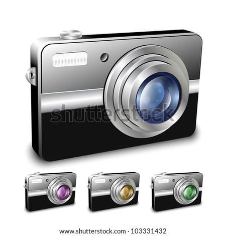Digital compact camera. Vector illustration - stock vector