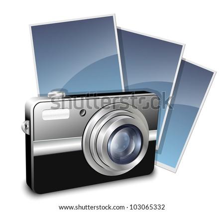 Digital compact photo camera and photos. Vector illustration - stock vector