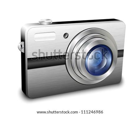 Digital compact photo camera. Vector - stock vector