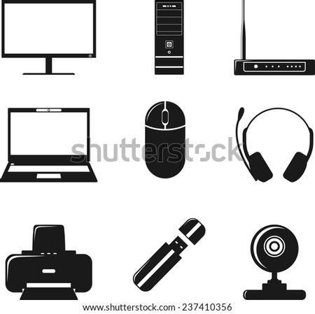 Digital computer equipment icons set. Simple clearly defined icons set of digital devices and tools