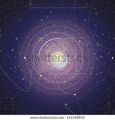 Digital dark background. Background of numbers. Blue background with a burst. Vector illustration.