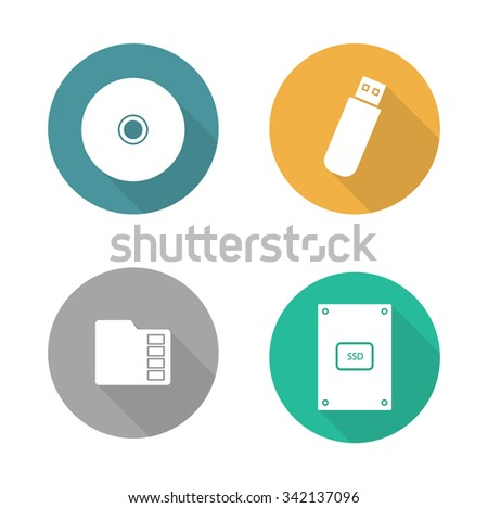 Digital data storage devices flat design icons set. Cd disc, pocket usb flash drive, memory sd card, external hdd. Long shadow logo concepts. Computer hardware equipment. Vector illustrations  - stock vector