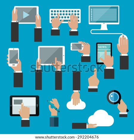 Digital devices and web technology flat concept swith human hands working on tablets, desktop computer, keyboard, smartphones, digital pen, cloud data storage and search application - stock vector