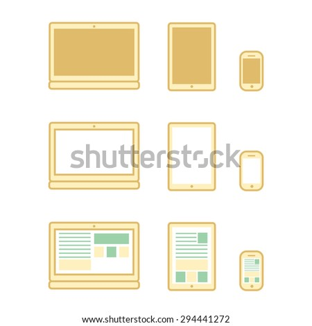 Digital devices set, laprtop, tablet and smart phone set in vector - stock vector