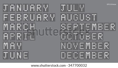 Digital Display - Calendar Months - EPS10 Vector