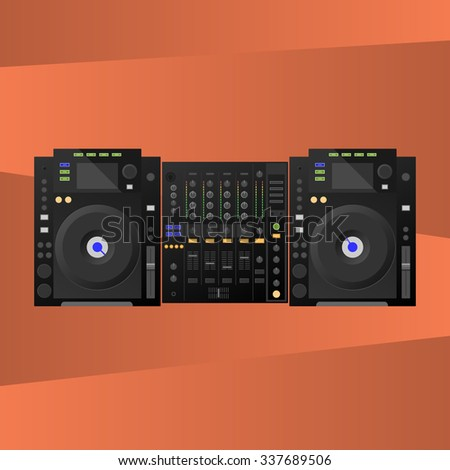 Digital DJ deck, mixer. Vector - stock vector