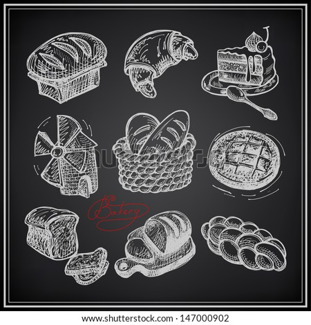 digital drawing bakery icon set on black background - stock vector