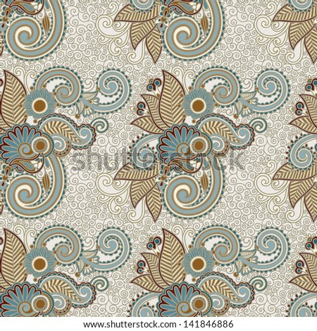 digital drawing ornate seamless flower paisley design background - stock vector