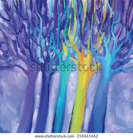 digital drawing with blue, violet and yellow trees - stock vector