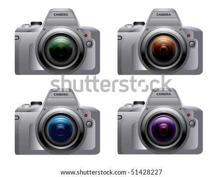 Digital dslr camera silver - stock vector
