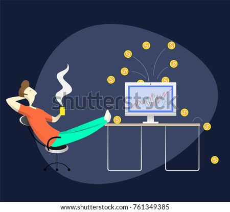 digital easy lifestyle dude work home stock vector  digital easy lifestyle dude work at home or trader or blog writer work using smart device