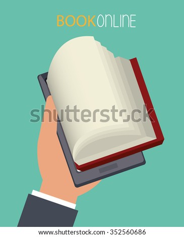 Digital electronic book or ebook graphic design, vector illustration eps10