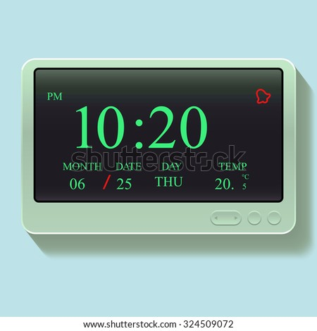 Digital electronic clock on a white background - stock vector