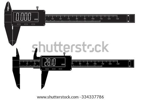 Digital electronic vernier caliper.  Vector isolated on white background - stock vector