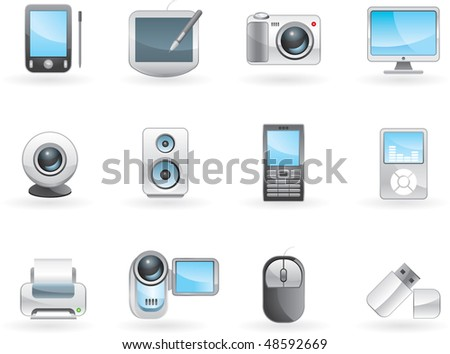 Digital electronics icon set. Vector. - stock vector