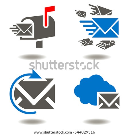 Digital email marketing business concept. Mail box envelope cloud sync communication vector icon set. Social network work post e-mail message online chat technology