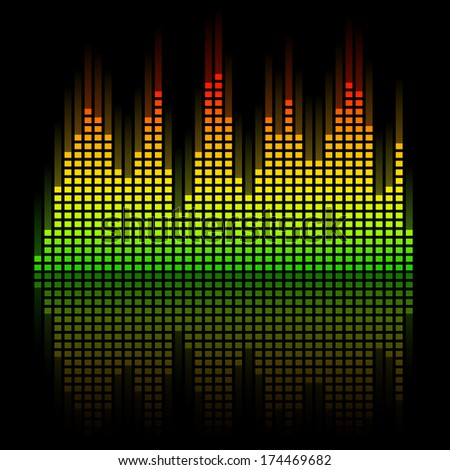 Digital Equalizer with reflection - stock vector