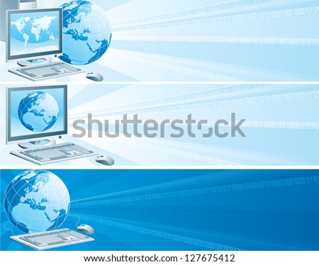 Digital Europe. Set of vector banners with computer, flat monitor,  mouse and  globe on an abstract background