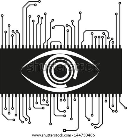digital eye on microchip - stock vector