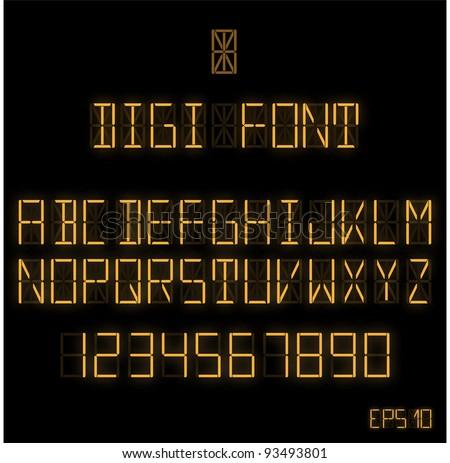 Digital Font - Shiny Orange - stock vector