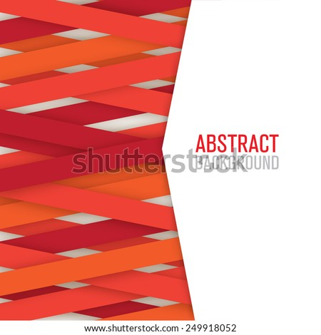 Digital geometric ribbons lines red color isolated  - stock vector