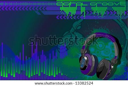 digital groove - stock vector