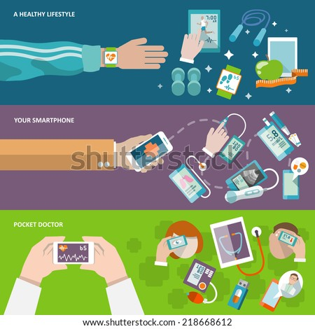 Digital health healthy lifestyle smartphone pocket doctor banner set isolated vector illustration - stock vector
