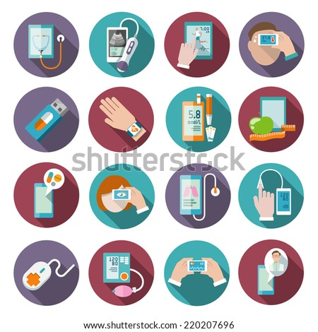 Digital health icons set of pocket therapist blood pressure monitor isolated vector illustration - stock vector