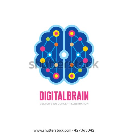 Digital human brain - vector logo concept illustration in flat style design. Mind sign. Future electronic structure technology creative symbol. Thinking education. - stock vector
