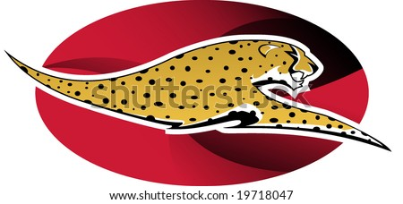 Digital illustration: wild cheetah on red background - stock vector
