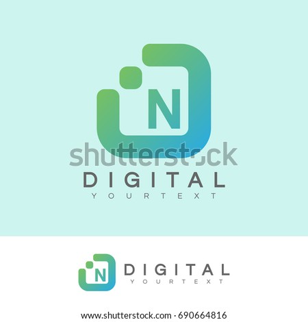 digital initial Letter N Logo design
