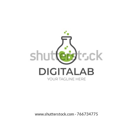 Digital Lab Logo Template Chemical Flask Stock Vector HD (Royalty ...