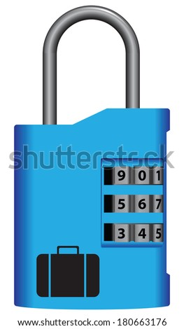 Digital lock for a suitcase while travelingl. Vector illustration. - stock vector