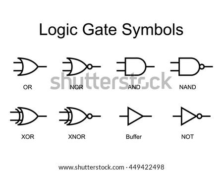 Digital Logic Gate Symbols Black Isolated Stock Vector 449422498
