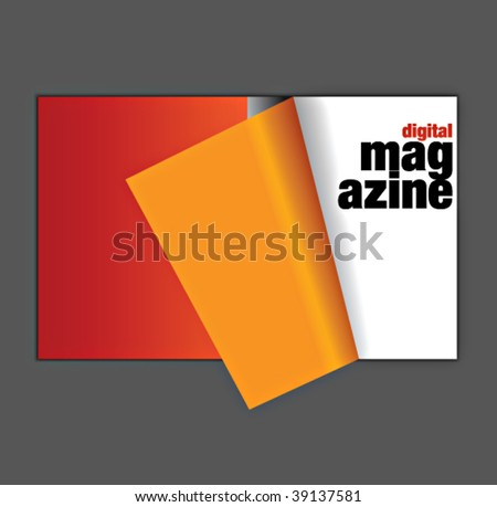 digital magazine spread with pageflip effect in vectors - stock vector