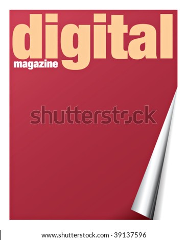 digital magazine with pageflip effect in vectors - stock vector