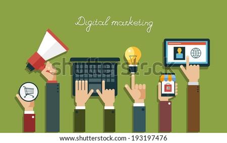 Digital marketing concept.  Human hand with a megaphone, laptop, mobile, tablet, lightbulb, Baskets - stock vector