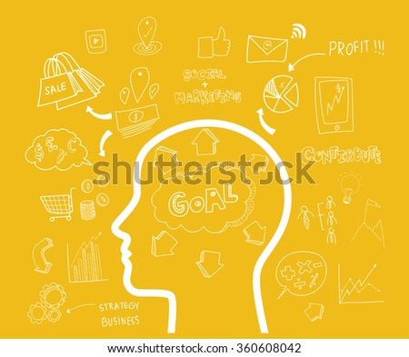 Digital Marketing Concept idea. Hand drawn vector illustration icons set