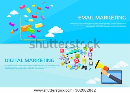 Digital Marketing Email Laptop Envelope Send Business Mail Megaphone Device Entertainment Loudspeaker Web Banner Set Flat Vector Illustration - stock vector
